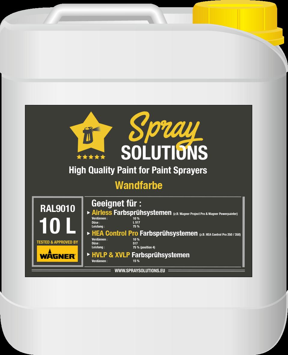 SpraySolutions - Wandfarbe RAL9010 - 10 Liter