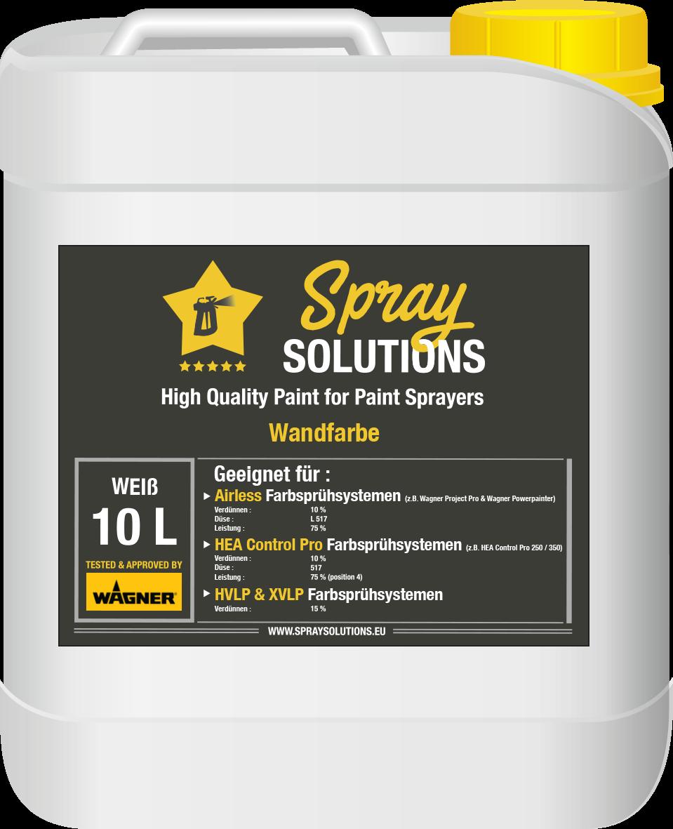 SpraySolutions - Wandfarbe Weiß - 10 Liter